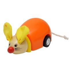 BIGJIGS Drevená myška na zotrvačník - oranžová