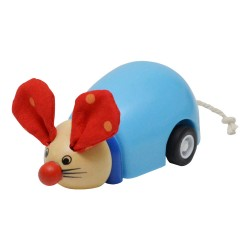BIGJIGS Drevená myška na zotrvačník - modrá