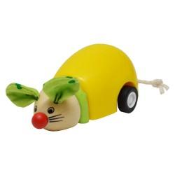 BIGJIGS Drevená myška na zotrvačník - žltá