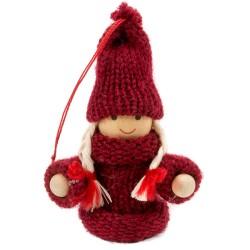 Ozdoba na vianočný stromček - dievčatko bordové