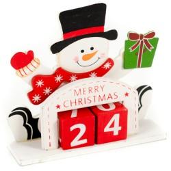 Drevený adventný kalendár - Snehuliak