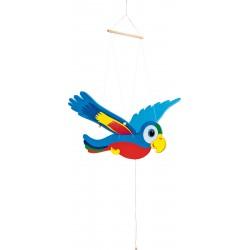 Závesná dekorácia - lietajúci papagáj Ara