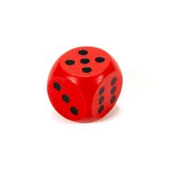 Drevená hracia kocka - 1,5 cm - červená
