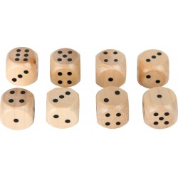 Legler Drevená hracia kocka - 1,5 cm natur - 8 kusov