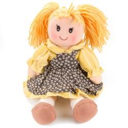Látková bábika - 25 cm-ová textilná - v hnedo-žltých šatách