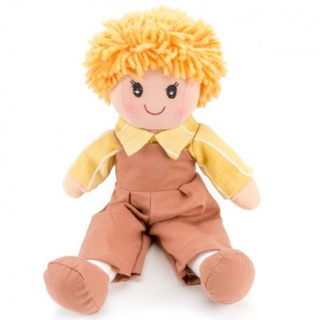Látková bábika - 25 cm-ová textilná - v hnedých nohaviciach