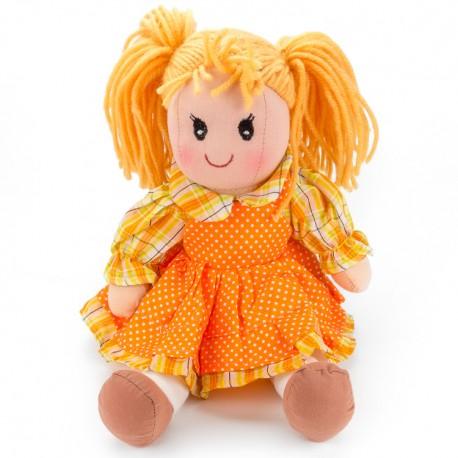 Látková bábika - 25 cm-ová textilná - v oranžových šatách