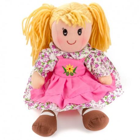 Látková bábika - 25 cm-ová textilná - v ružových šatách s kvetinkou