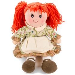 Látková bábika - 25 cm-ová textilná - v krémovo-kvetovaných šatách