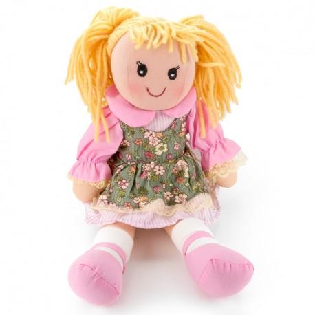 Látková bábika - 25 cm-ová textilná - v zeleno-ružových šatách