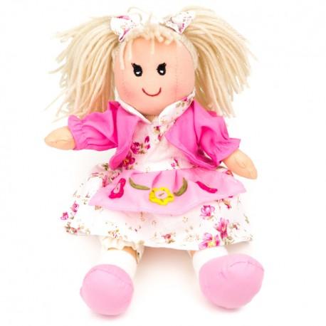 Látková bábika - 25 cm-ová textilná - v ružových šatách