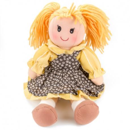 Látková bábika - 30 cm-ová textilná - v hnedo-žltých šatách