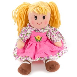 Látková bábika - 30 cm-ová textilná - v zeleno-ružových šatách