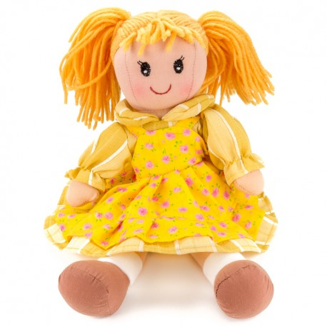 Látková bábika - 30 cm-ová textilná - v oranžových šatách
