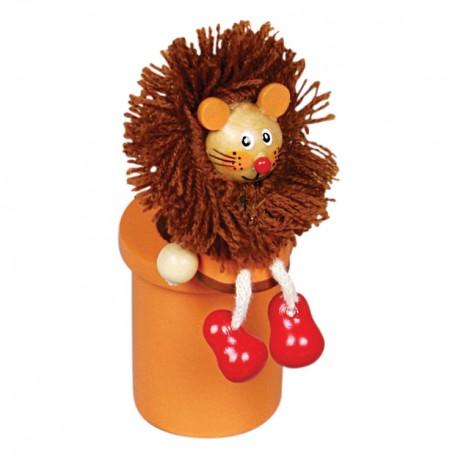 Drevený stojan na ceruzky s farbičkami - lev