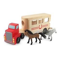 Melissa & Doug Drevené vozidlo na prepravu koní