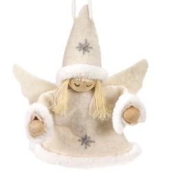Ozdoba na vianočný stromček z filcu - anjelik dievčatko krémové