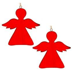 Drevené ozdoby na vianočný stromček z dreva 2 ks - anjeliky červené