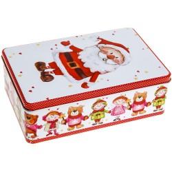 Vianočná plechová dóza - obdĺžniková s Mikulášom 20 x 13 x 6,5 cm