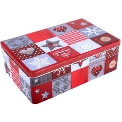 Vianočná plechová dóza - obdĺžniková s dekoráciami 20 x 13 x 6,5 cm