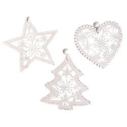 Drevené ozdoby na vianočný stromček 3 ks - biele - hviezda, stromček, srdce