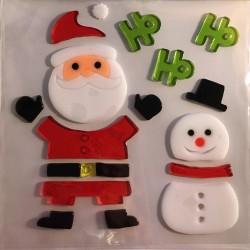 Vianočné nálepky na okno - snehuliak a Mikuláš Ho Ho Ho