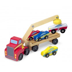 Melissa & Doug Drevený kamión na prepravu áut s magnetom