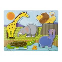Melissa & Doug Drevená hmatová vkladačka - Zoo