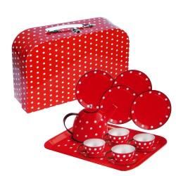Detská čajová súprava - bodkovaná v kufríku