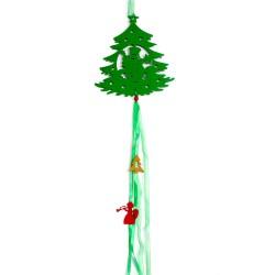 Vianočná závesná ozdoba z filcu so stuhami - stromček zelený
