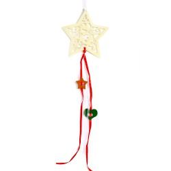 Vianočná závesná ozdoba z filcu so stuhami - hviezda krémová