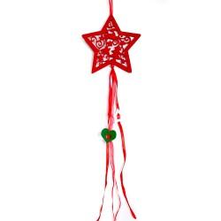 Vianočná závesná ozdoba z filcu so stuhami - hviezda červená