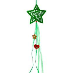 Vianočná závesná ozdoba z filcu so stuhami - hviezda zelená