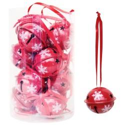 Vianočné ozdoby - roľničky červené - 12 kusov