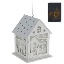 Drevený svietiaci domček - Rodina s deťmi