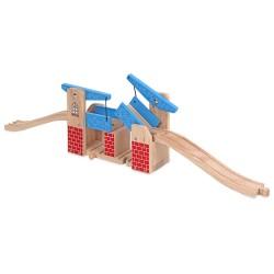 Detský drevený zdvíhací most modry