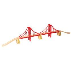 BIGJIGS detský drevený visiaci most - dvojitý