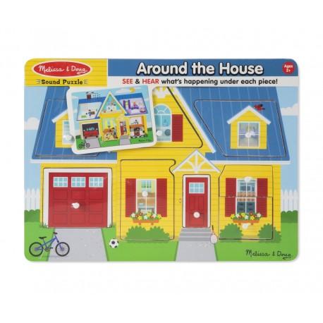 Drevené puzzle - zvukové domček