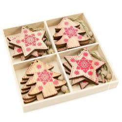 Drevené ozdoby na vianočný stromček 12 ks natur - hviezdičky a stromčeky