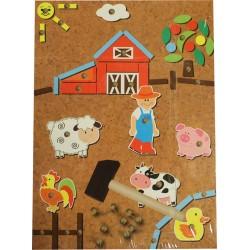 Drevená mozaika na pribíjanie pre deti - farma
