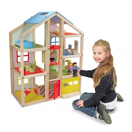 Drevený domček pre bábiky so zariadením Melissa & Doug