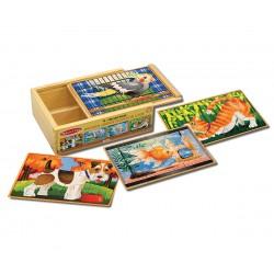 Melissa & Doug Drevené puzzle v krabičke - Domáci miláčikovia