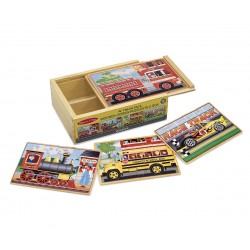 Melissa & Doug Drevené puzzle v krabičke - Dopravné prostriedky