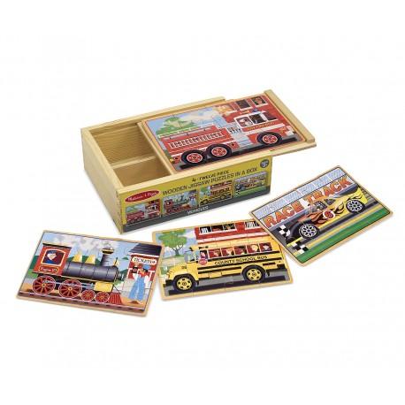 Drevené puzzle v krabičke - Dopravné prostriedky - Melissa & Doug