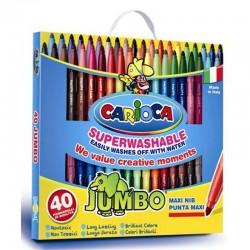 CARIOCA hrubé umývateľné farebné fixky Jumbo 40 ks