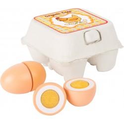 SMALL FOOT Drevené vajíčka na krájanie pre deti - 4 kusy v krabičke