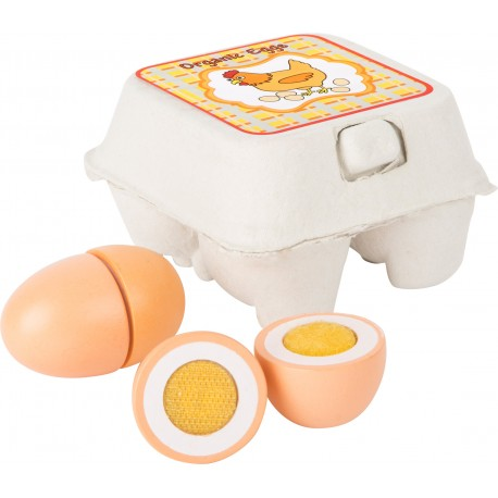 Drevené vajíčka na krájanie - 4 kusy v krabičke