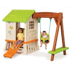 Záhradný domček pre deti Smoby Pretty Forest Hut so šmykľavkou a hojdačkou 2v1 od 2 rokov