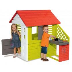 Záhradný domček pre deti Smoby Pretty Nature Smoby s letnou kuchynkou a zasúvacou okenicou s UV filtrom od 2 rokov