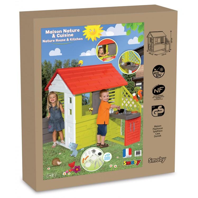 e785cdbdf39c8 ... Záhradný domček pre deti Smoby Pretty Nature Smoby s letnou kuchynkou a  zasúvacou okenicou s UV